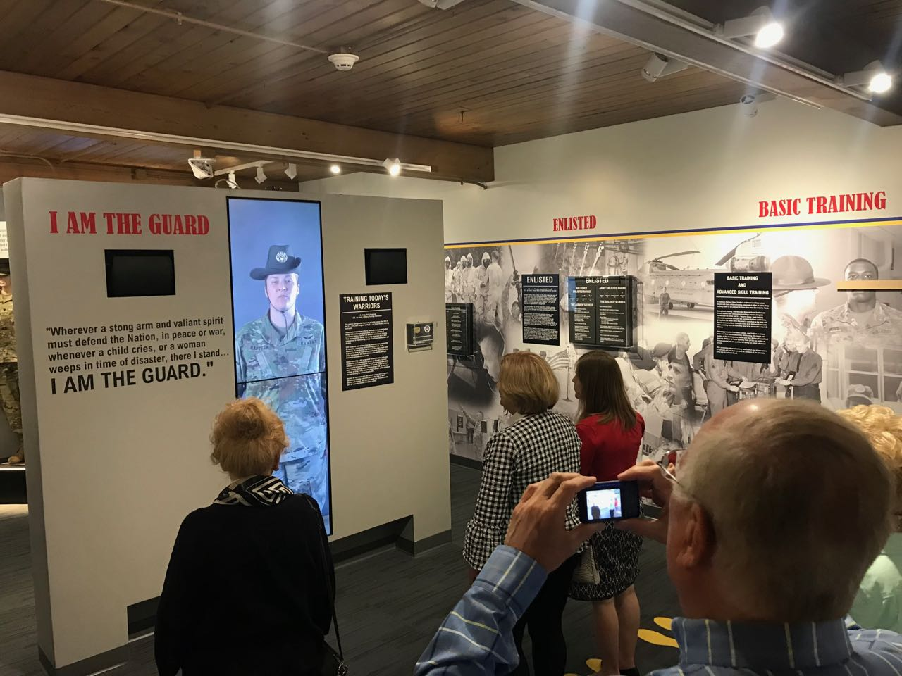 Motion-triggered video wall at the Nebraska National Guard Museum