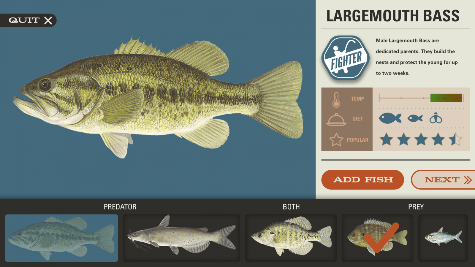 A screenshot of a game that allows visitors to build a fish, then see how it would survive based on what was chosen.