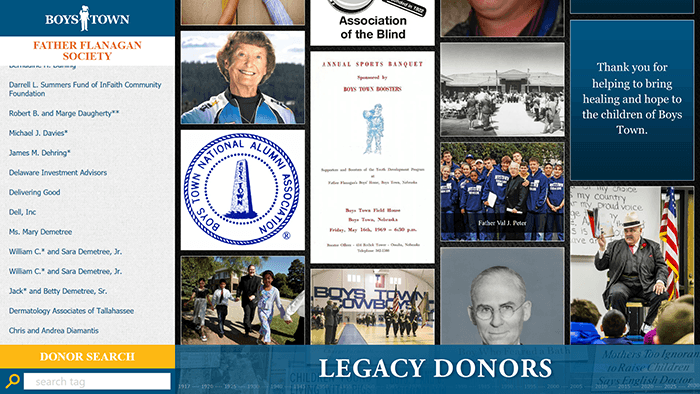 Boys Town's Digital Donor Board used to recognize the gifts given to the organization.