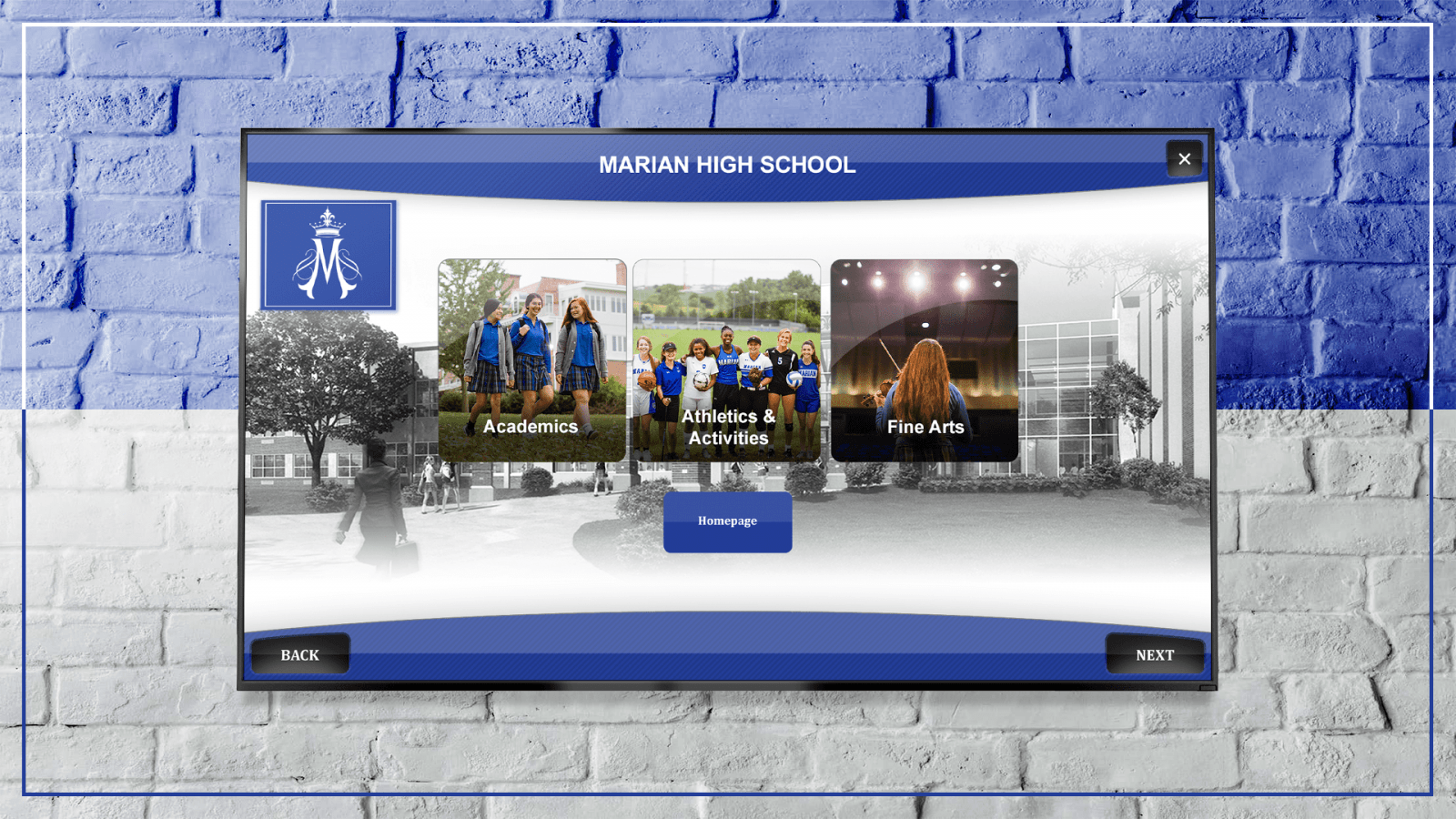 Marian High School's Digital Trophy Case allows visitors, students, and alumni to explore the school's activities and more.