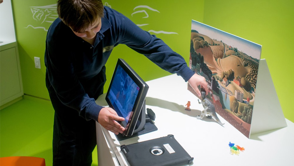 Nanonation's stop motion station at the Joslyn Art Museum allows visitors to create their own stop motion films.