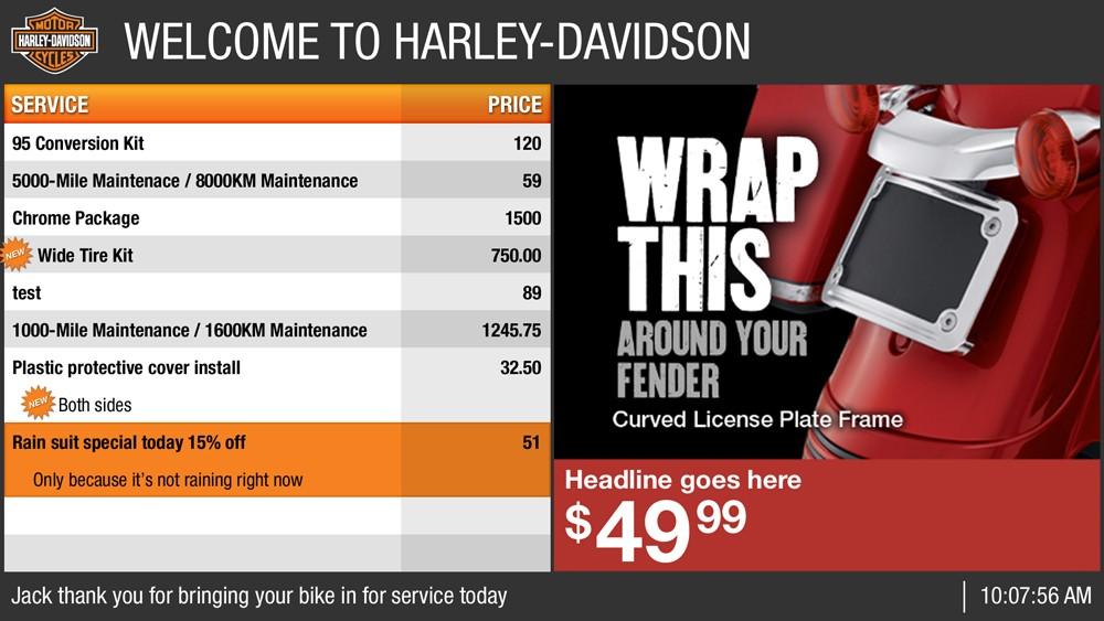 Harley Davidson's digital signage