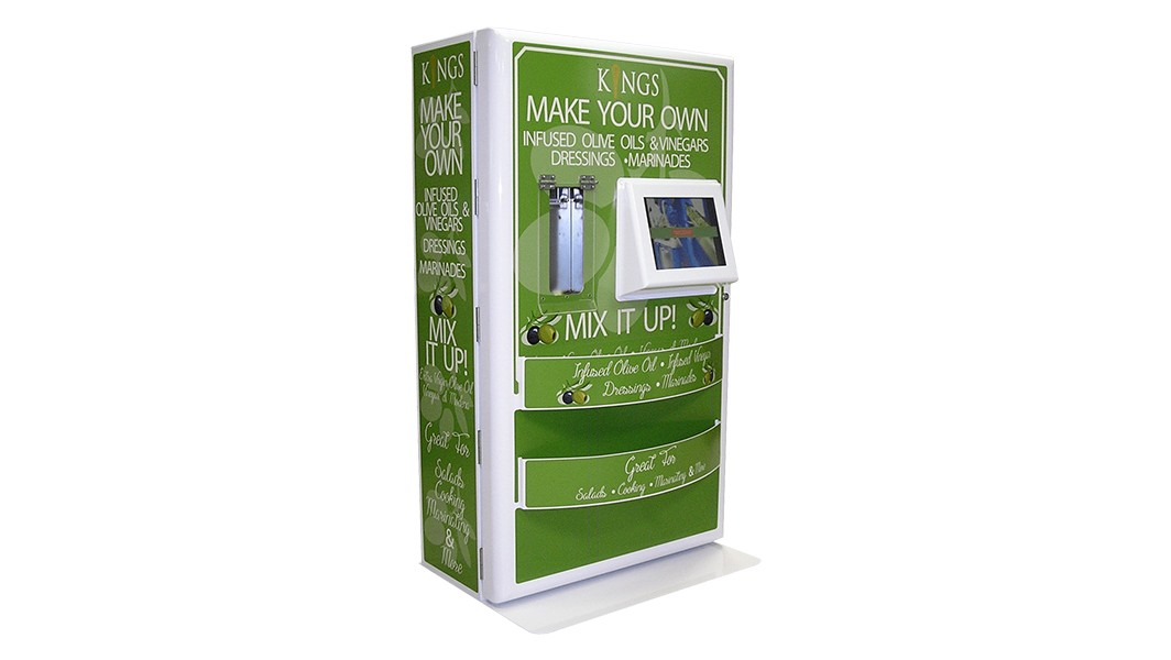 Ariston Make Your Own kiosk used to create custom olive oil and vinegar products.