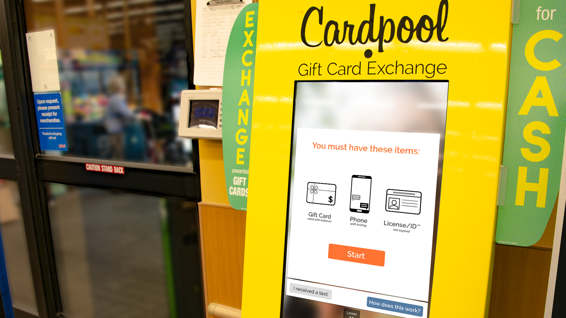 Cardpool's kiosks allow customers to exchange unused gift cards for money.
