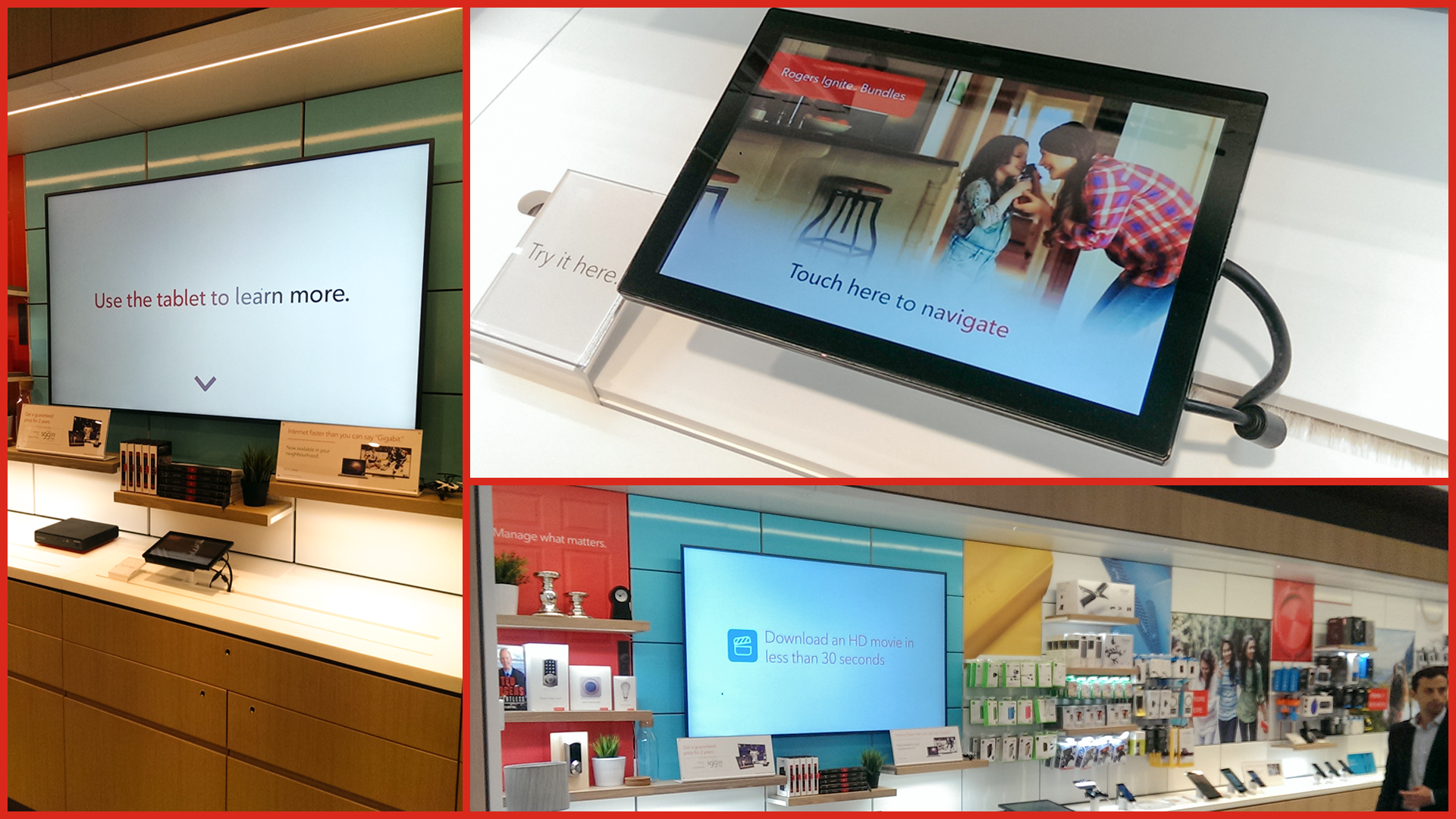 Rogers digital signage system and touch interactive system educates customers.