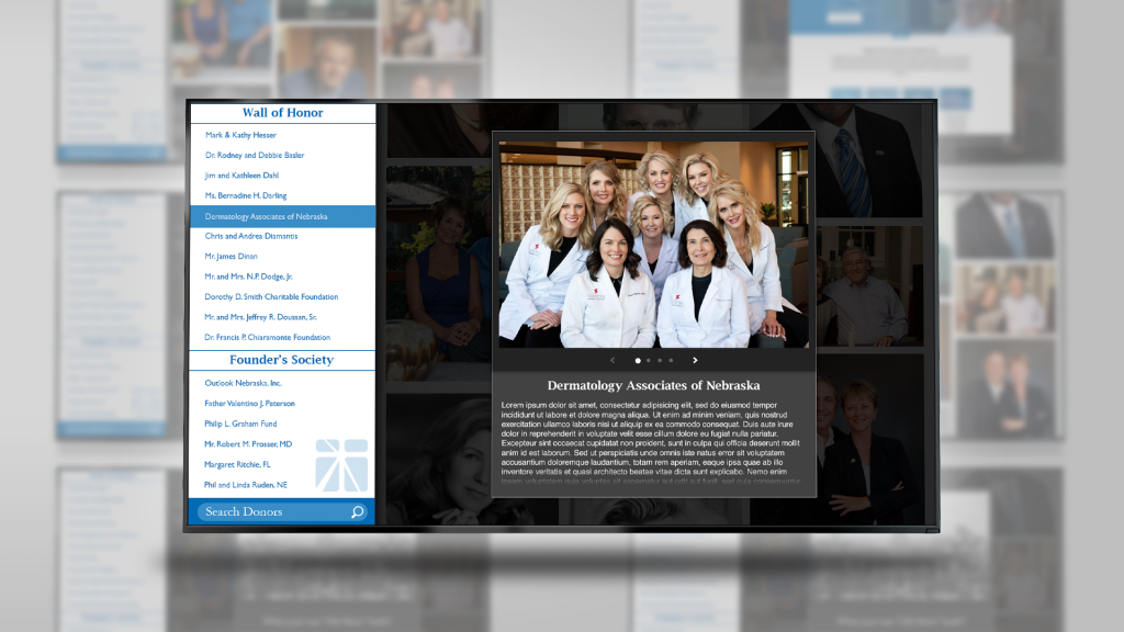Screenshot of Tabitha Health's digital donor recognition board