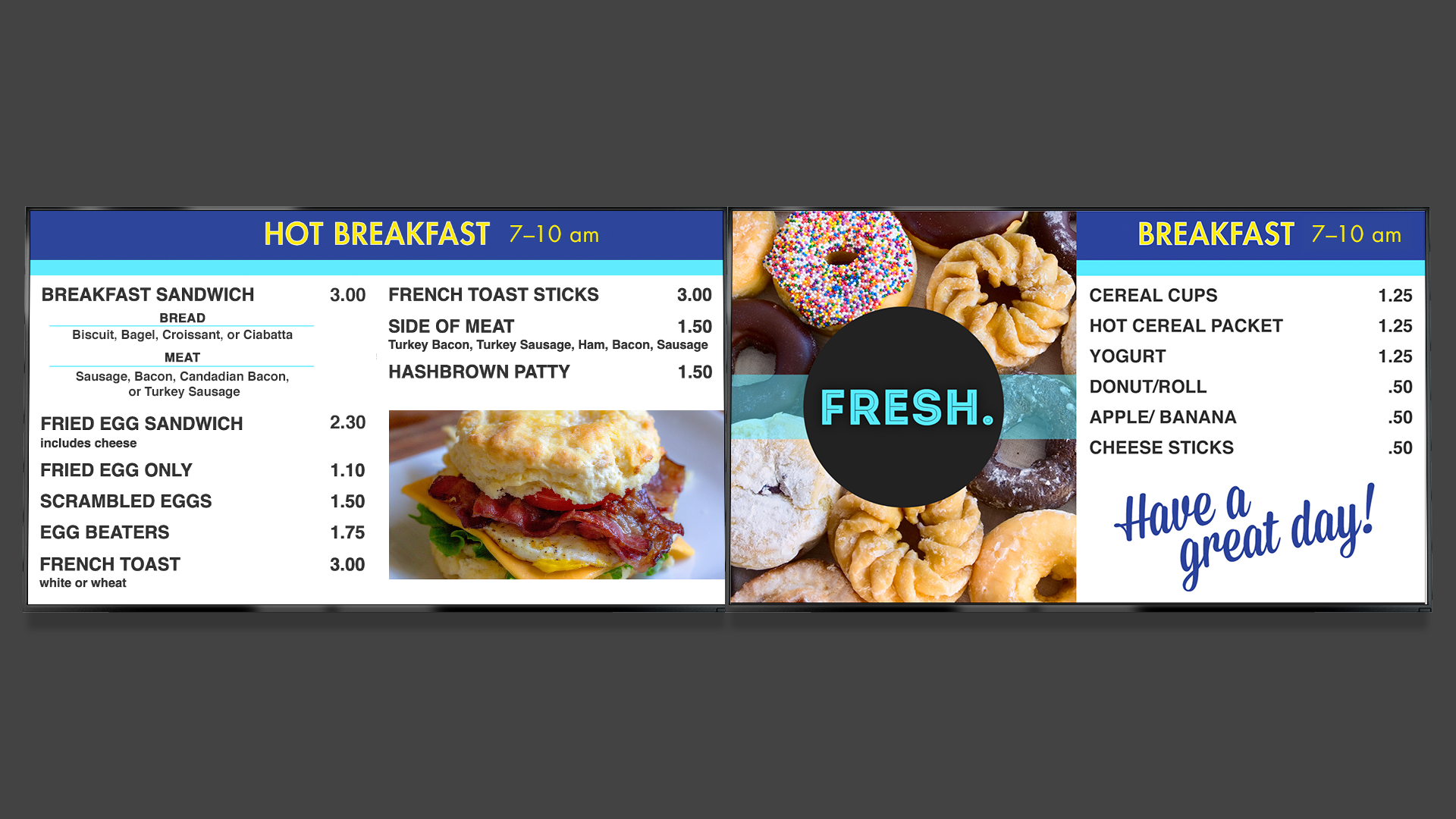 Example of Werner Enterprises' Digital Menu Board