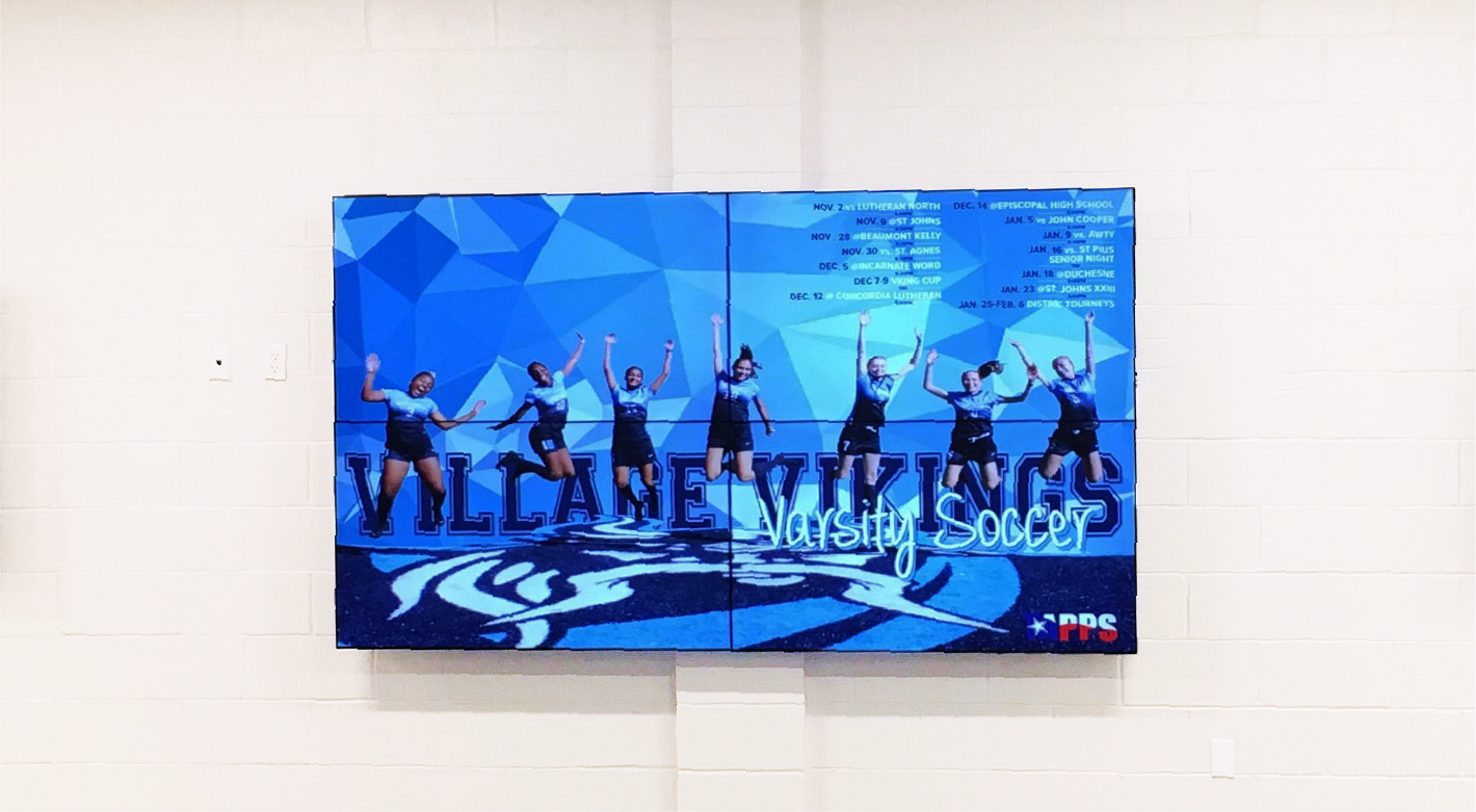 The Village School's four-screen video wall