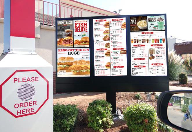Outdoor digital menu boards at an Arby's.