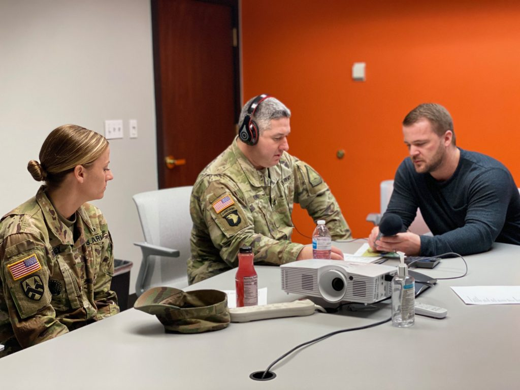 Nebraska Army National Guard soldiers recording the voice over for the virtual reality game