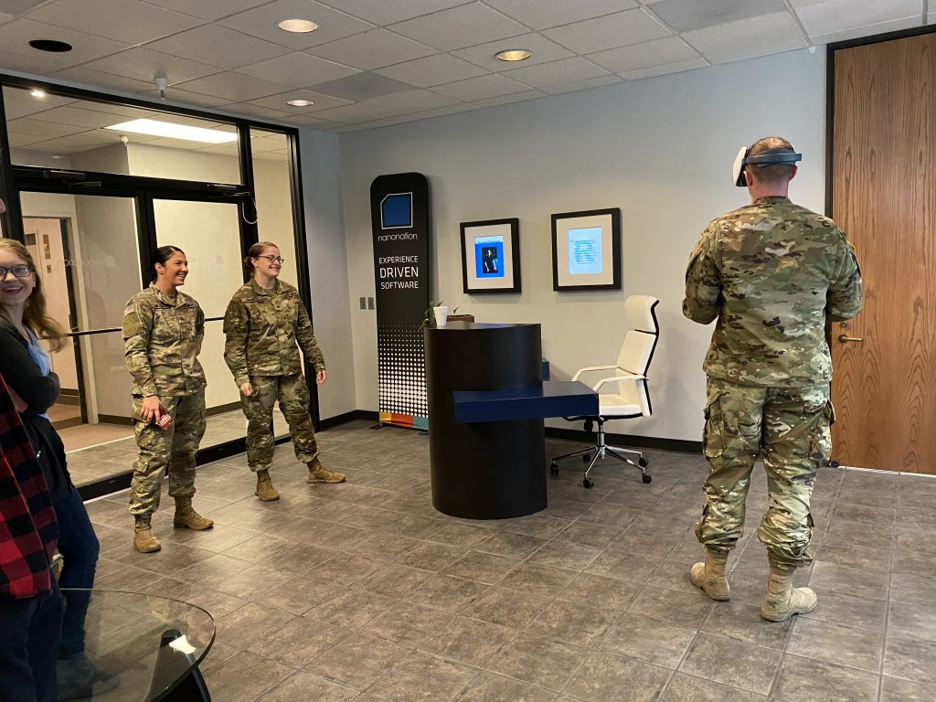 Nebraska Army National Guard soldiers testing the virtual reality game.
