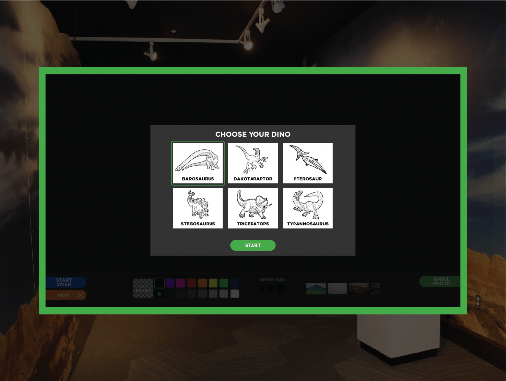 Screenshot of Paint-A-Dino game at Kirby Science Discovery Center