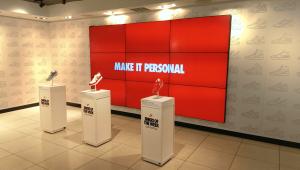 9 screen video wall in Nike store