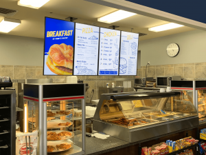 Digital menu boards in a Pump and Pantry convenience store