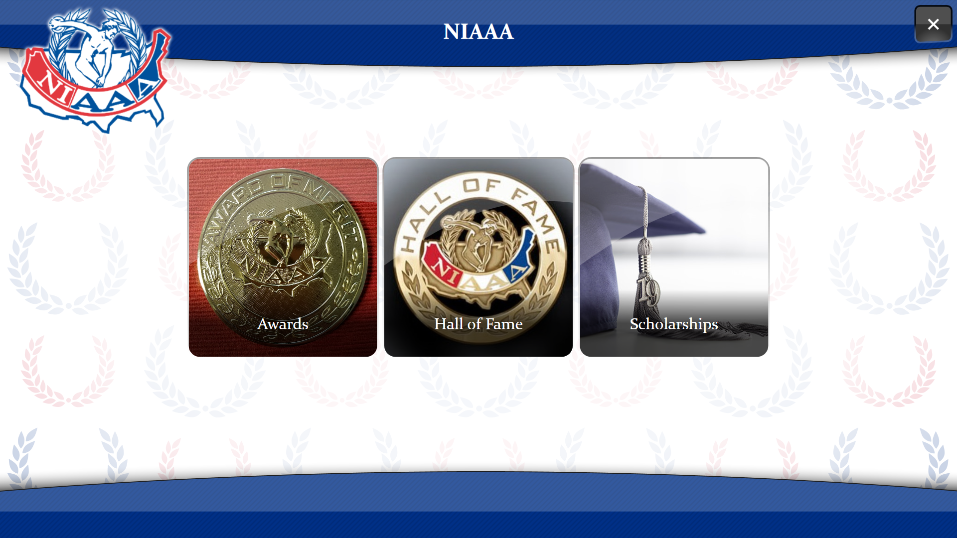 Screenshot of the NIAAA Digital Trophy Case