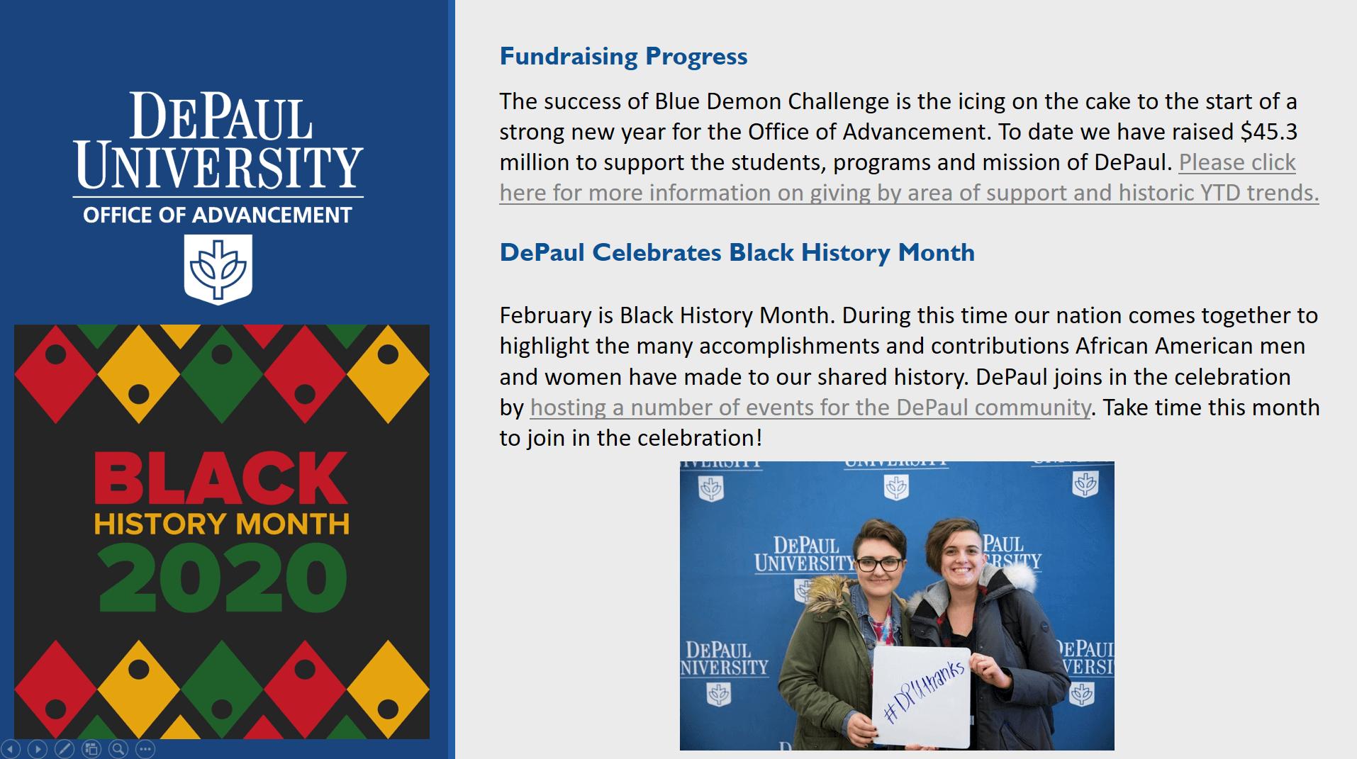 An example of DePaul University's digital signage.