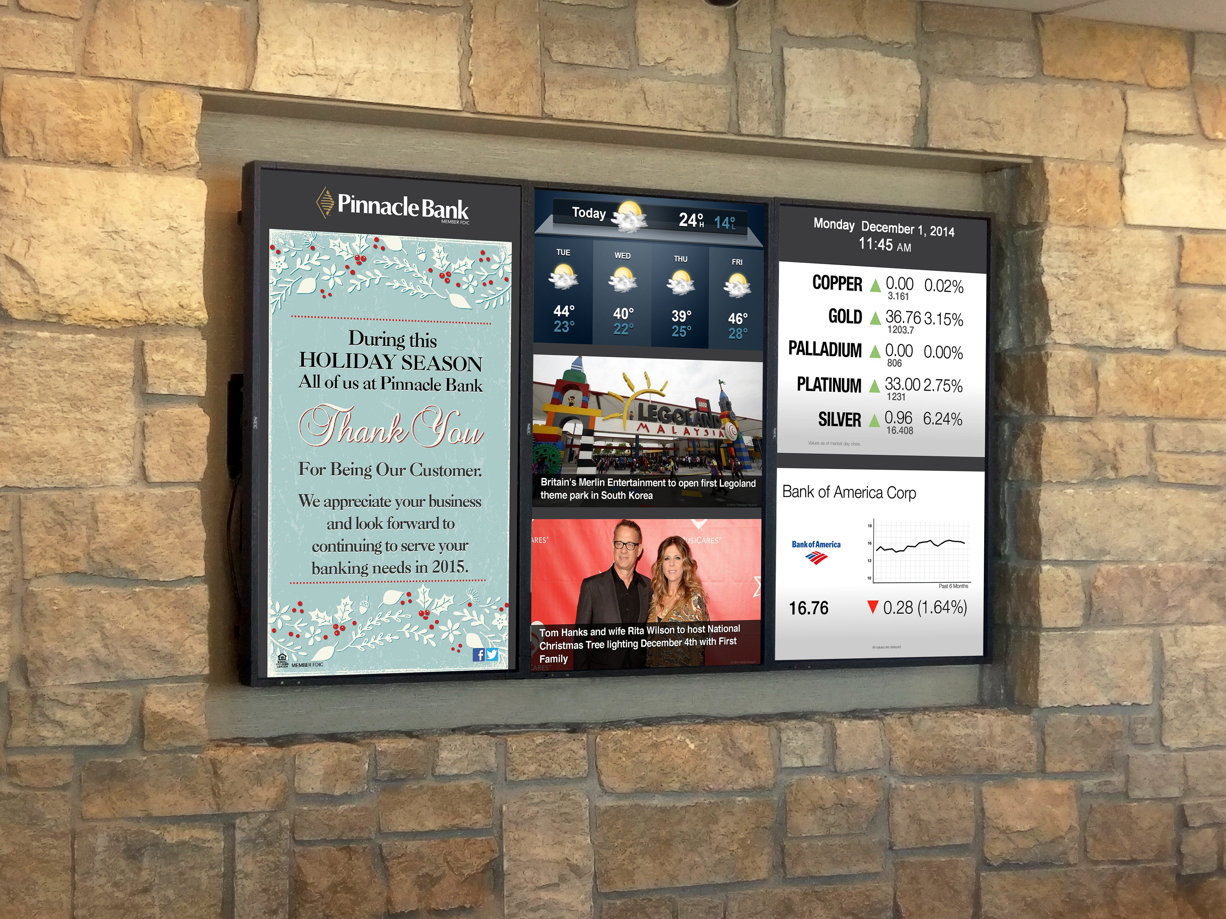 Pinnacle Bank's financial digital signage distributes stock information, news, weather, and announcements.